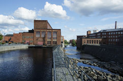 Beautiful םld factory's buildings region by the river, Finland Royalty Free Stock Photography