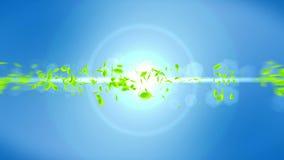 Fresh green leaves falling on blue background. CG leaf confetti. Loop animation. Beautiful leaf. Green leaf falling. Leaf nature pattern on background. Summer royalty free illustration