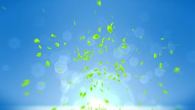Fresh green leaves falling on blue background. CG leaf confetti. Loop animation. Beautiful leaf. Green leaf falling. Leaf nature pattern on background. Summer stock illustration