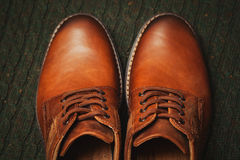 Beautiful leather men`s shoes. Stock Photos