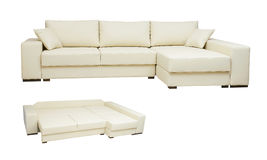 Beautiful leather sofa beige color on a white Royalty Free Stock Photo