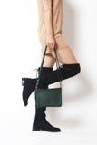 Beautiful leg and female bag royalty free stock photography