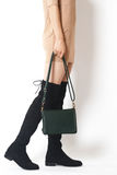 Beautiful leg and female bag royalty free stock images