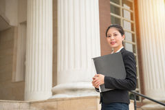 Beautiful legal adviser manager standing in court Royalty Free Stock Photo