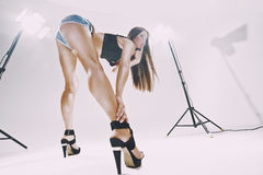 Beautiful leggy brunette in the studio Royalty Free Stock Images
