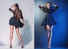 Beautiful leggy brunette in the studio Royalty Free Stock Photo