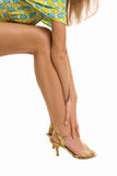 Beautiful legs and arms. Beautiful arms and  legs  on high heels isolated on a white background Royalty Free Stock Images