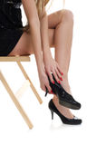 Beautiful legs with black shoe Stock Photography