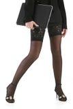 Beautiful legs in black stockings Stock Image