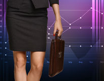 Beautiful legs business woman and leather Stock Photos