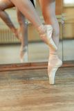 Beautiful legs of dancer in pointe royalty free stock photo