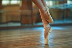 Beautiful legs of  dancer in pointe Stock Photo
