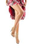 Beautiful legs of female isolated on white background stock photo