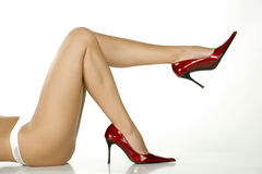 Beautiful Legs In Red Shoes Stock Image