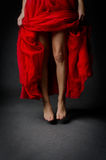 Beautiful legs and red skirt Royalty Free Stock Photography