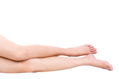 Beautiful legs slim women isolated white background. Stock Image