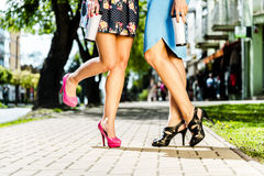 Beautiful legs in the street. royalty free stock photos
