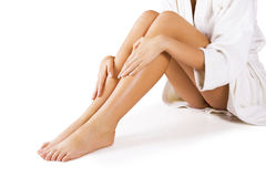 Beautiful legs on white. Beautiful legs. Isolated on white Royalty Free Stock Images