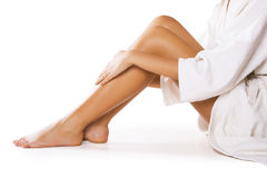 Beautiful legs on white Stock Images