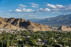 Beautiful leh city in summer. Beautiful sunset in leh city, view from shanti stupa,ladakh,India Royalty Free Stock Photography