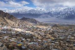 Beautiful Leh city on surround mountains background, Ladakh India Tibet Royalty Free Stock Images