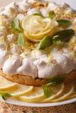 Beautiful lemon cake with meringue macro. vertical Royalty Free Stock Image