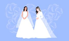 Beautiful lesbian couple in white wedding dresses. Same-sex family. Gay marriage. For wedding invitation, Save the Date. Cards, rsvp etc. Vector royalty free illustration