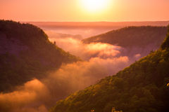 Beautiful Letchworth State Park in the early morning. Letchworth State Park, the Grand Canyon of the East shrouded in early morning fog Royalty Free Stock Photos