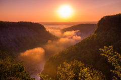 Beautiful Letchworth State Park in the early morning. Letchworth State Park, the Grand Canyon of the East shrouded in early morning fog Royalty Free Stock Image