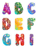 Beautiful letters alphabet set, part 1 Royalty Free Stock Image
