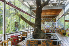 The beautiful Libreria Porrua Chapultepec. Mexico City, FEB 16: The beautiful Libreria Porrua Chapultepec of a mix book store and cafe on FEB 16, 2017 at Mexico Royalty Free Stock Photo