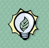 Beautiful lighbulb icon with a leaf in it. With a leaf pattern o Stock Images