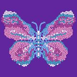 Beautiful, light, airy butterfly mosaic. Fashionable ornamental pattern. Stock Photo