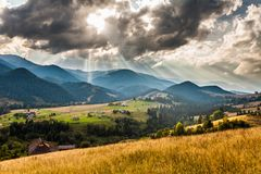Beautiful light beam in morning, mountain Royalty Free Stock Photo