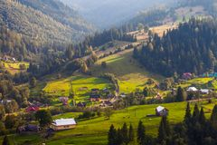Beautiful light beam in morning, mountain Stock Images