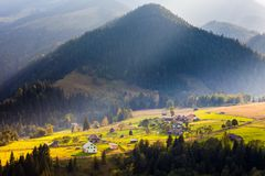 Beautiful light beam in morning, mountain Royalty Free Stock Images