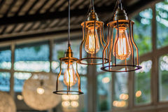 Beautiful Light bulb incandescent hanging decorated interior roo Stock Images
