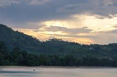 Beautiful Light through the cloud on Sunset at Krabi Beach, near Phuket Thailand Stock Photos