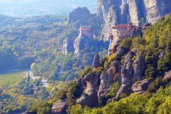 Beautiful light effect at dawn on the rock formations and monasteries of Meteora. Greece stock photo