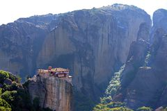 Beautiful light effect at dawn on the rock formations and monasteries of Meteora. Greece royalty free stock photos