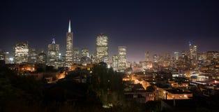 Beautiful Light Glows Over Neighborhood Homes Buildings San Francisco Royalty Free Stock Photo