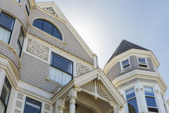Beautiful light grey traditional victorian house. Royalty Free Stock Images