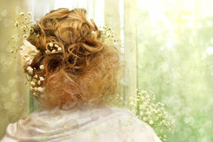 Beautiful light hairstyle . Royalty Free Stock Photography
