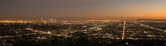 Beautiful Light Los Angeles Downtown City Skyline Urban Metropol. The sun has already set in this aerial view of the city skyline Los Angeles Stock Photography