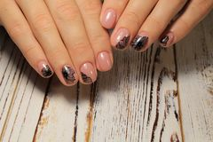 beautiful light manicure Royalty Free Stock Photos