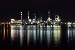 Beautiful light of oil refinery factory. Stock Image