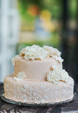 Beautiful light pink and tasty wedding cake. Cake decorated with flowers from marzipan on the table Stock Photography