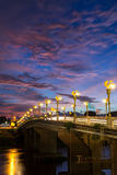 Beautiful light pole on the bridge the over the river. In Thailand Royalty Free Stock Images
