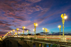 Beautiful light pole on the bridge the over the river. In Thailand Royalty Free Stock Photo