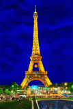 Beautiful light show of flashing lights on the Eiffel Bache in Paris. Royalty Free Stock Photo